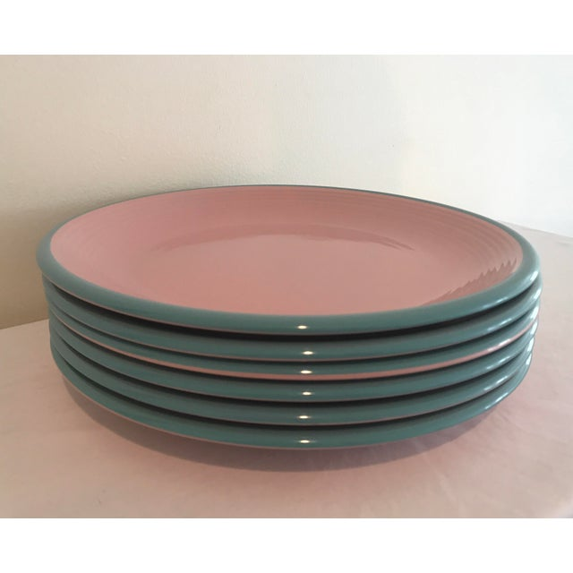 Century Rio Pink & Turquoise Stoneware Dinner Plates - Set of 6 For Sale In Nashville - Image 6 of 6