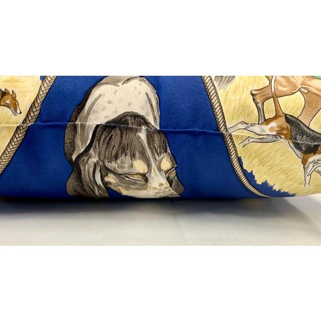 Hermès Hermès Paris Blue Silk Scarf Fox Hunt Pillow For Sale - Image 4 of 8