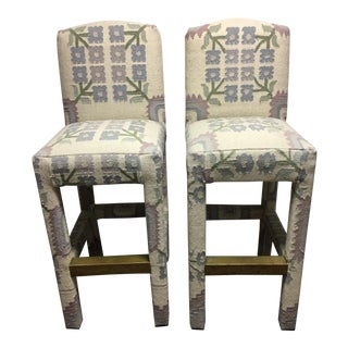 Vintage Indian Dhurrie Bar Stools - A Pair