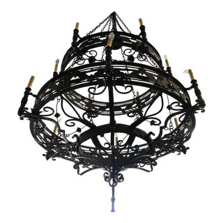 Spanish Revival Reproduction Over Sized Two Tier Chandelier For Sale