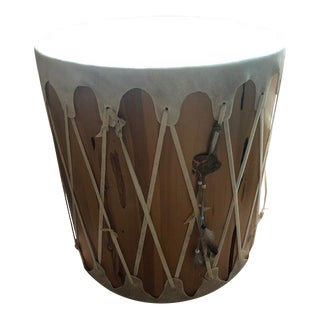 Handmade Drum Side Table For Sale