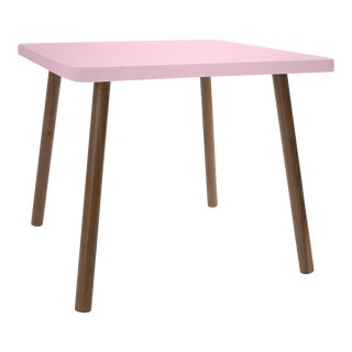 "Tippy Toe Small Square 23.5"" Kids Table in Walnut With Pink Finish Accent For Sale"