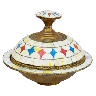 Moroccan Lidded Bowl With Bone Inlay For Sale