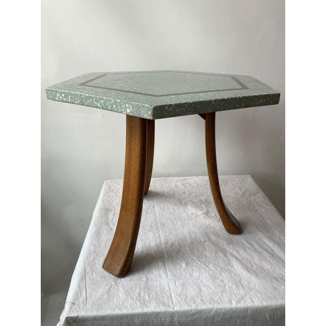 Wood 1950s Harvey Probber Blue Terrazzo Tripod Side Table For Sale - Image 7 of 9