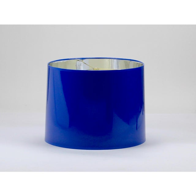 Modern High Gloss Cobalt Blue Tapered Lampshade For Sale - Image 3 of 3