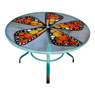 Patrick Briggs 'Butterffly Wings' 2021, Hand Painted Woodard Obscure Glass Outdoor Table For Sale