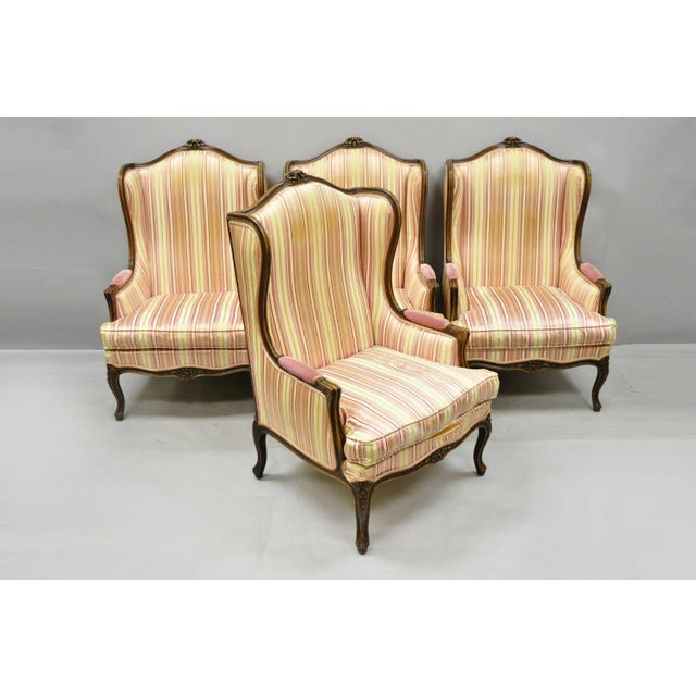 Vintage Mid Century French Louis XV Style Wingback Bergere Armchairs - A Pair For Sale - Image 10 of 12