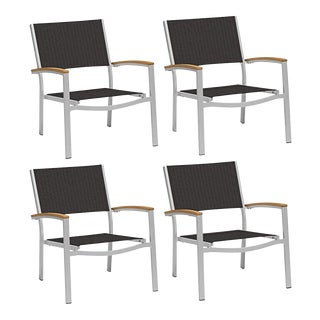Outdoor Sling Lounge Chair, Natural and Black (Set of 4) For Sale
