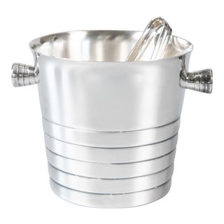 Vintage French Christofle Silver Plate Ice Bucket & Tongs For Sale