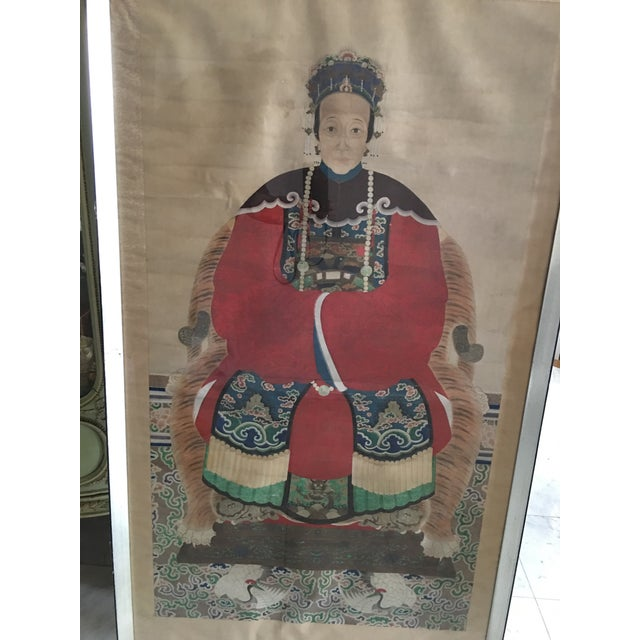 Paint Early 20th Century Antique Chinese Ancestral Watercolor Portrait on Paper Painting For Sale - Image 7 of 11