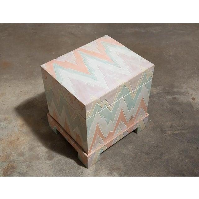 Pastel Geometric Wooden Storage Box - Image 3 of 6