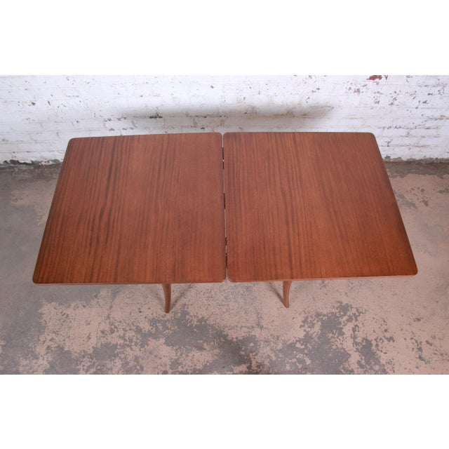 Wood Harvey Probber Mid-Century Modern Mahogany Saber Leg Flip Top Extension Dining or Game Table For Sale - Image 7 of 11