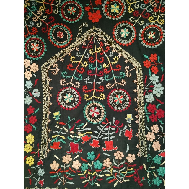 "Late 1800s Hand-Stitched Suzani- 3' X 5' 3"" For Sale - Image 4 of 13"