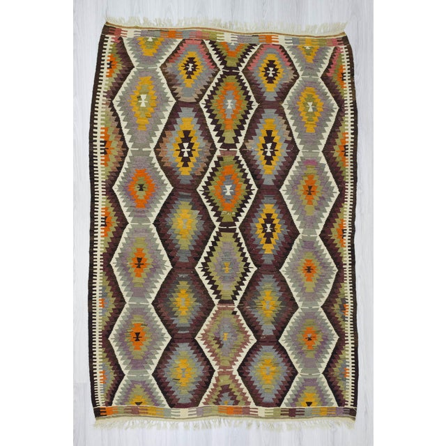 Handwoven vintage kilim rug from Antalya region of Turkey. It is in very good condition. Approximately 40-50 years old....