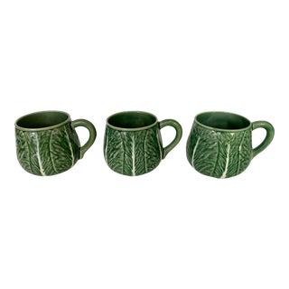 Bordallo Pinheiro Green Cabbage Leaf Mugs- Set of 3 For Sale