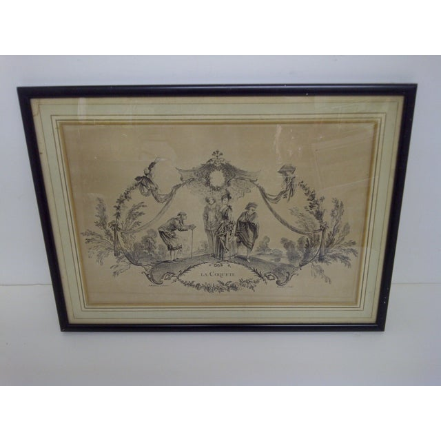"""""""La Coquette"""" by Apres Antoine Watteau Boucher. Vintage engraving/print circa 1850. Framed, matted, glass front. The print..."""