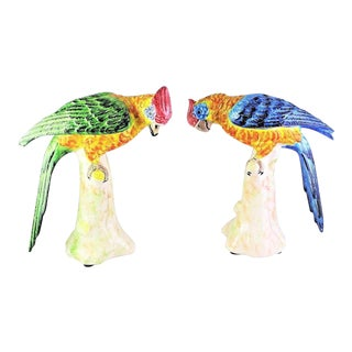1990s Vintage Italian Chelsea House Majolica Parrot Bird Figurines - A Pair For Sale