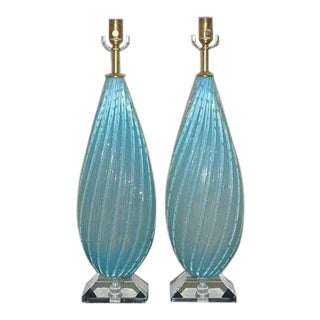 Vintage Opaline Murano Glass Table Lamps in Blue For Sale