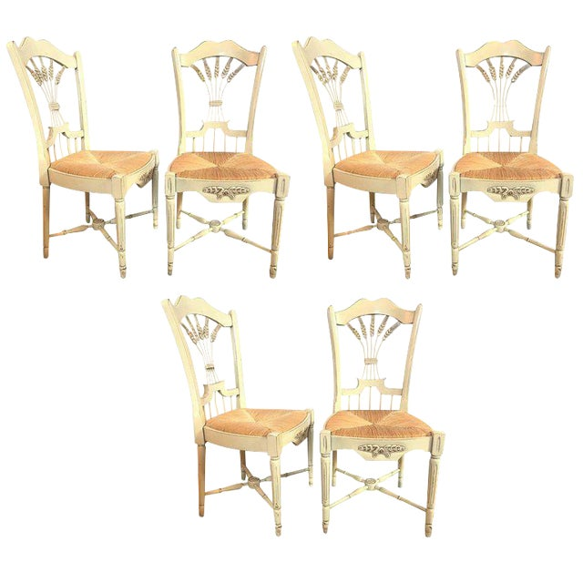 """Set of Six Distressed White Painted """"Italian"""" Rush Seat Side Chairs For Sale"""