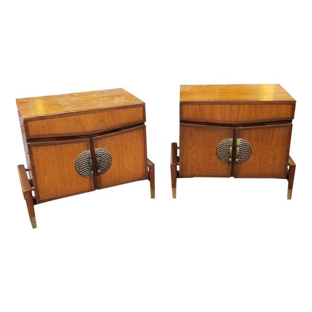 Rare Pair Mid Century Hobey Helen for Baker Furniture Asian Modern Walnut  Bedroom Nightstands C1950s