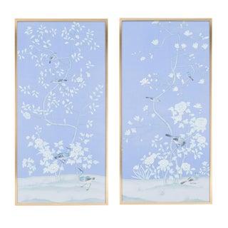 "Simon Paul Scott for Jardins en Fleur ""Mortyne Manor"" Chinoiserie Hand-Painted Silk Diptych - 2 Pieces For Sale"