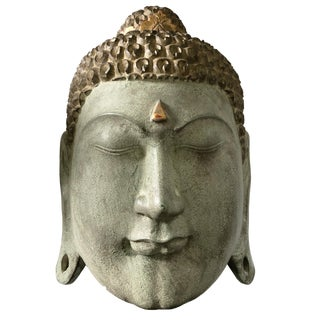"""Lg Asian Wood Crowned Buddha Head 13.75"""" H For Sale"""