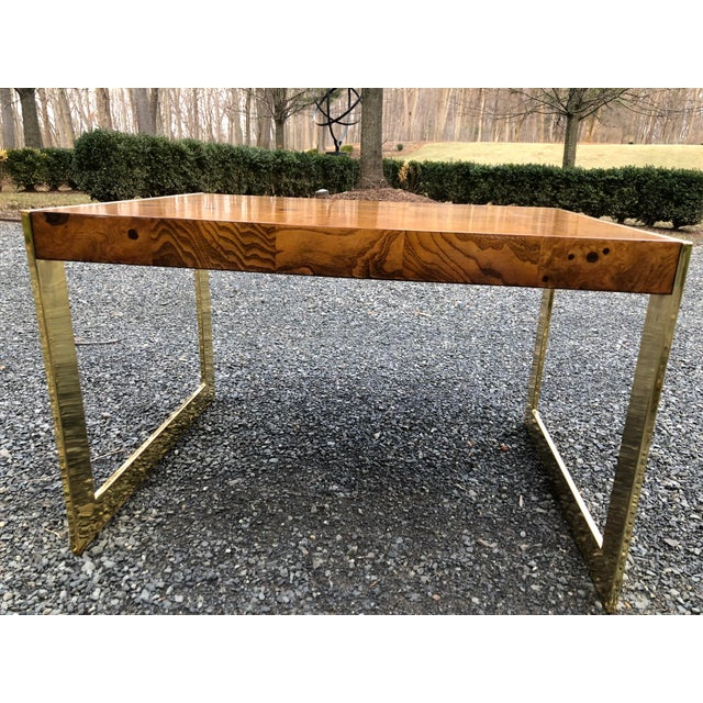 Green 1970s Mid-Century Modern Olive Wood and Brass End Tables - a Pair For Sale - Image 8 of 13