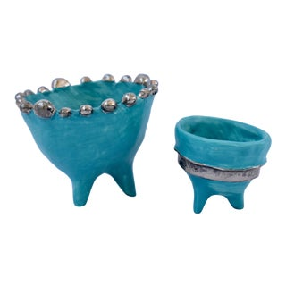 Modern Ceramic Mini Bowls With White Gold Accents - Set of 2 For Sale