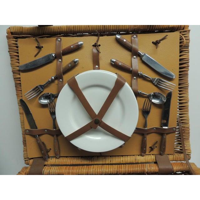 Vintage Picnic Wicker Basket - Image 3 of 9