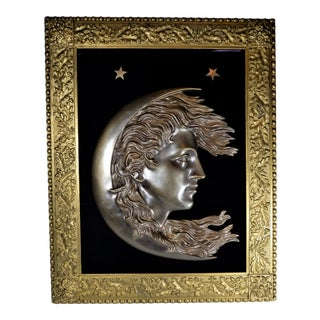 Antique 1900s Cast Bronze Woman's Face in Crescent Moon Plaque90 For Sale