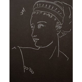 """""""Rococo"""" Contemporary Portrait White Charcoal Drawing by Sarah Myers For Sale"""
