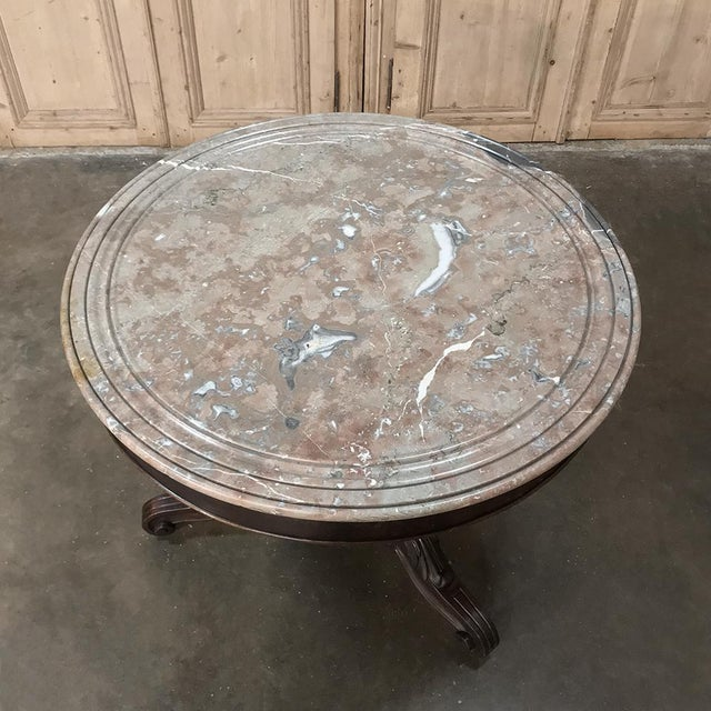 19th Century French Louis Philippe Marble Top Center Table For Sale - Image 9 of 11