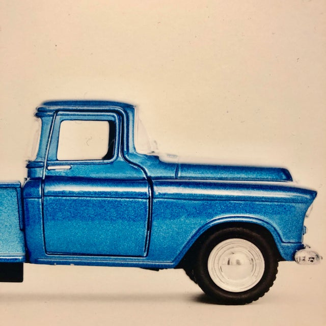 Brand new photograph of vintage, blue truck. Perfect decoration for a boy's room!