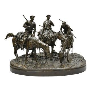 Large Bronze Statue 3 Horse Rider Hunt Scene After Evgeni Alexandrovich Lanceray For Sale
