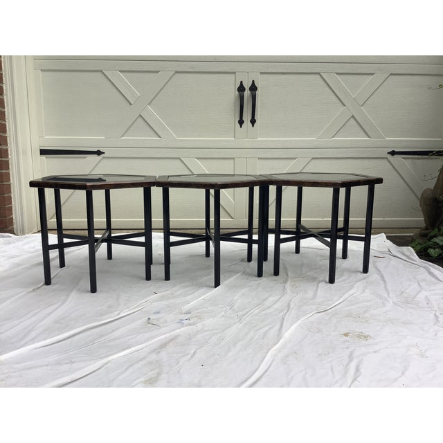 Set of 3 honeycomb side tables by John Widdicomb. The tables have a tortoise finish on top, with an ebonized base. Can be...