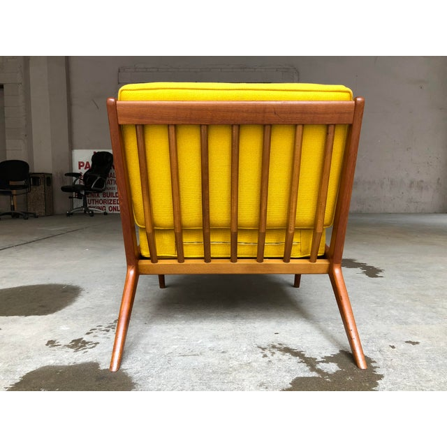 Mid Century Danish Modern Ib Kofod-Larsen for Selig Teak Lounge Chair Yellow Cushions For Sale In Milwaukee - Image 6 of 7