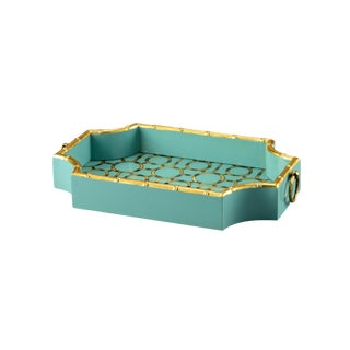 Teal Bamboo Tray For Sale