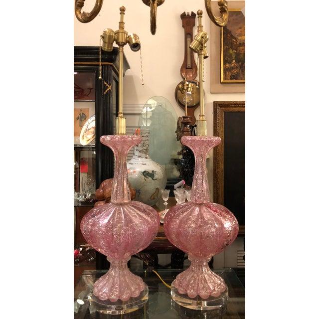 Italian Pair of Unusual Pink Seguso Murano Italian Art Glass Lamps For Sale - Image 3 of 6