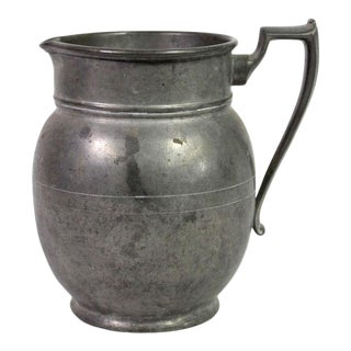 Antique 19th Century Victorian English Solid Pewter Pitcher For Sale