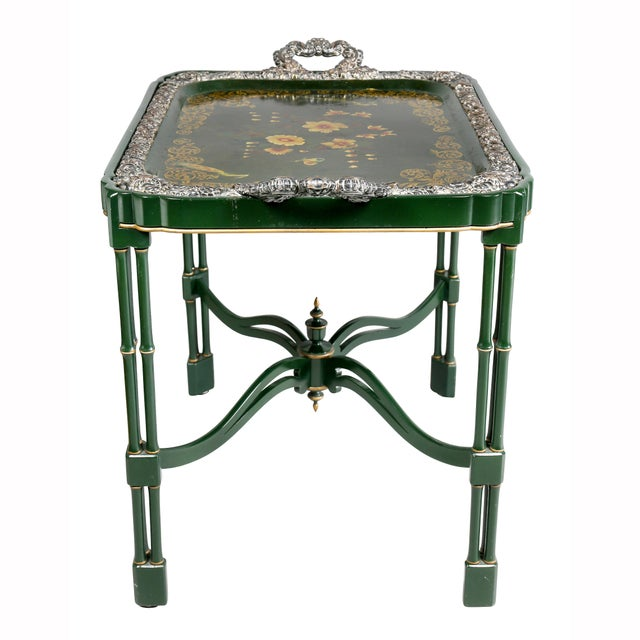 Victorian Papier Mache and Silver Plated Tray Table For Sale - Image 11 of 13