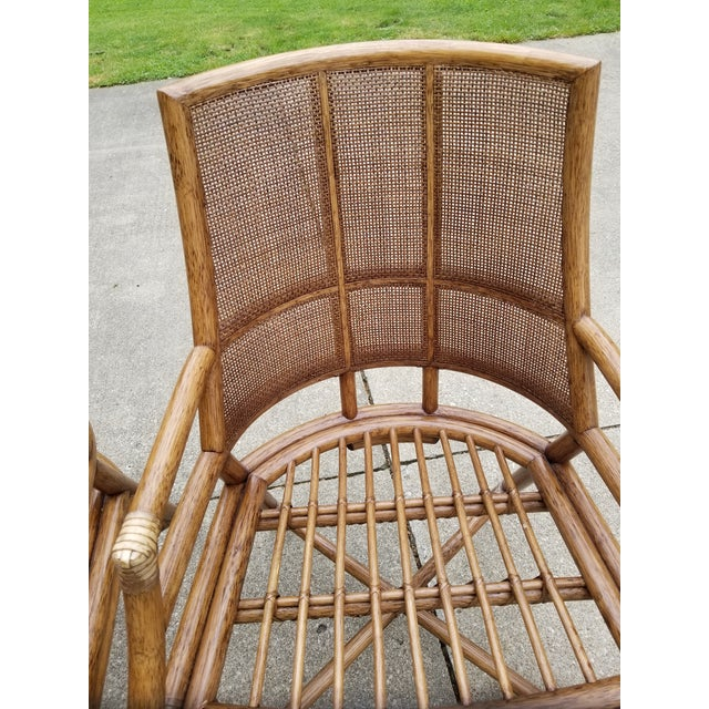 McGuire Rattan Cane Lounge Arm Chairs - a Pair - Image 5 of 8
