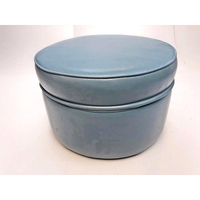 Vintage Mid Century Blue Vinyl Round Foot Stool Ottoman For Sale - Image 12 of 12