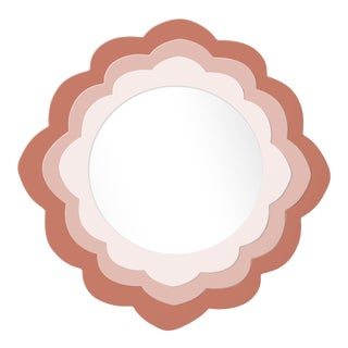 Fleur Home x Chairish Audobon Magnolia Circle Mirror in Red Earth, 24x24 For Sale