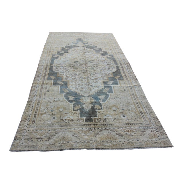"Antique Turkish Oushak Rug - 4'10"" X 10'5"" For Sale"