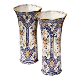 19th Century French Hand-Painted Vases From Rouen - a Pair For Sale