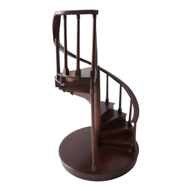 Vintage Spiral Staircase Architectural Model in Mahogany For Sale