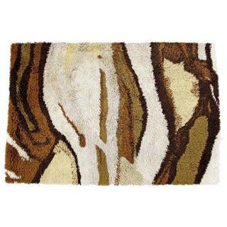 1960s Mid-Century Modern Brown & Beige Rya Area Rug Carpet - 4′ × 5′11″ For Sale