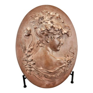 Vintage Hand Sculptured Terracotta Plaque Victorian Woman Signed Shields For Sale