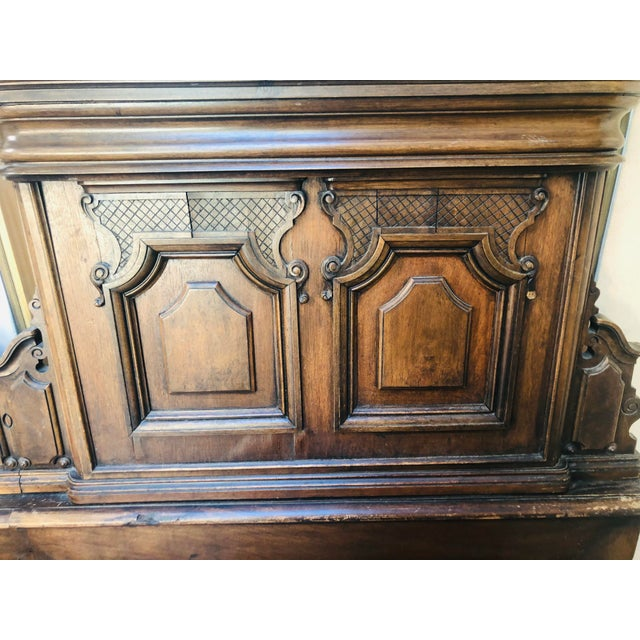 19th Century Jacobean Carved Head Board for King Size Bed With Night Stands - 3 Pieces For Sale - Image 9 of 12