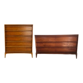 1970s Lane Highboy & Lowboy Dressers - A Pair For Sale